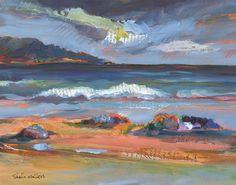 « Bords orageux »  14 x 11 original peinture technique mixte sur papier    Peinture se décline en 16 x 20 mat - prêt à encadrer verni de