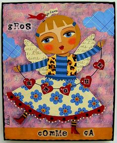 Love Angel & Red Bird painting by LuLu | par LuLu Mypinkturtle
