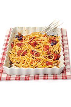 Spaghetti con i pomodori al forno