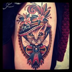 I want a tattoo dedicated to my cat as well... I'm not sure how yet, but this dolled up cat was too cute to pass up.... ---- Matt Houston - Tattooist in Vancouver (Gastown Tattoo Parlour) | Cat dressed as a lady with hat tattoo #matthouston #GastownTattoo #cattattoo