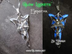 Beautiful Arwen's Evenstar pendant from LOTR, this one glows in the dark and illuminates a beautiful soft blue color.