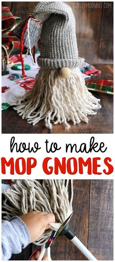 dollar store Christmas Crafts DIY Mop Gnomes How to make Mop Gnomes.a cute christmas craft for anyone to make! Kids or adults alike.Christmas diy project for home decor. Dollar Tree Christmas, Dollar Tree Crafts, Christmas Diy, Christmas Crafts For Adults, Xmas Crafts, Decor Crafts, Decoration Christmas, Holiday Decor, Diy Craft Projects