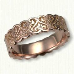 Celtic Traymore Knot Sculpted Wedding Band- Shown in 14kt Rose Gold