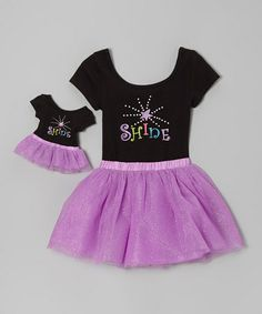 Take a look at this Black & Purple 'Shine' Leotard Set & Doll Outfit - Girls by Dollie & Me on #zulily today!