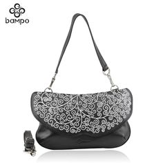 Banpo leather handbags shopping malls with the paragraph fashion embroidery first layer of leather temperament shoulder Messenger bag national wind girl - Shadmart.com