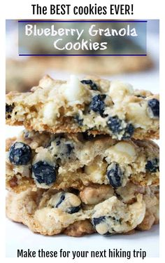 These granola cookies are packed with dried blueberries, coconut, pecans, white chocolate and oatmeal. They are soft and chewy and totally irresistible! Blueberry Cookies, Blueberry Recipes, Blueberry Chocolate, Coconut Cookies, Fruit Cookies, Blueberry Jam, Yummy Cookies, Sugar Cookies, Granola Cookies