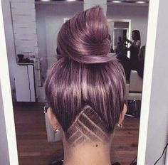 Lilac hair colour with cool under shave pattern