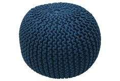 Knitted Pouf, Navy