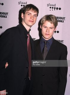 Actor Peter Paige and actor Randy Harrison attend the 12th Annual GLAAD Media Awards on April 16, 2001 at the New York Hilton Hotel in New York City.