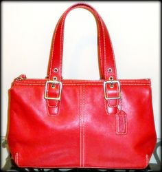 'Authentic Coach Red Legacy Leather Medium Carryall' is going up for auction at  9pm Sun, Dec 16 with a starting bid of $10.