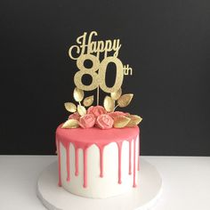 ANY AGE 80th Birthday Cake Topper Happy 80 Years Loved
