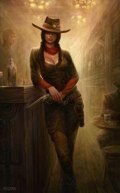 Christine by Polyraspad.deviantart.com. Lady gunslinger in the saloon.