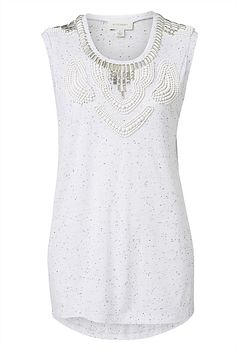 Beaded Neck Slub Top Could dress this up with white shorts and heels or dress down with boyfriend jeans and sandals. Work Fashion, Boyfriend Jeans, White Shorts, Topshop, Lace, Casual, Christmas, Tanks, Clothes