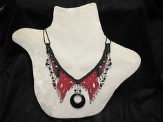 Needle Woven Necklace with Black Onyx