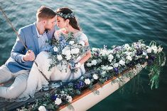 "If you're considering exchanging ""I dos"" in a seaside, yacht or nautical-themed wedding, you'll be won over by the blend of calming powder blue against the deep blue sea in today's styled shoot captured by Ben Yew. It's just the start to the weekend we need - we can almost hear the sound of waves crashing and feel the gentle coastal breeze."