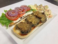 The abalone steak sandwich is back and here at Giovanni's Fish Market. The only restaurant in Morro Bay to serve an abalone sandwich. Abalone Recipe, California Food, Morro Bay, In The Flesh, Fish And Seafood, Seafood Recipes, Steak, Spear Fishing, Sandwiches
