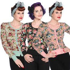 Banned Womens Vintage Floral Rockabilly 40s 50s Cardigan Knitwear TOP | eBay