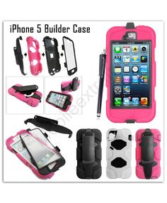 For Apple Iphone 5 5S New Shockproof Heavy Duty Defender Armor Full Protection Builder Case Cover+ Free Stylus 66245339872583