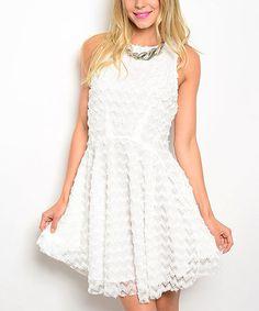 Look at this #zulilyfind! White Zigzag Lace Sleeveless Dress #zulilyfinds