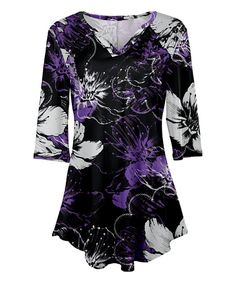 Take a look at this Black & Purple Floral V-Neck Tunic - Plus Too today!
