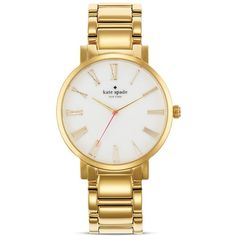 kate spade new york Large Roman Numeral Gramercy Watch, 38mm ($225) ❤ liked on Polyvore featuring jewelry, watches, accessories, h-jewelry, gold, roman numeral watches, polish jewelry, clasp bracelet, kate spade and white dial watches