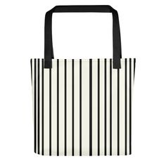 The ONLY Off White tote bag with black stripes. The ONLY Collection is a collection of beautiful, minimalistic yet striking tote bags. White Tote Bag, Black Stripes, Tote Bags, Off White, Colorful, Collection, Tote Bag, Totes