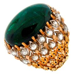 MARIO BUCCELLATI Green Tourmaline Cabochon, Diamond & Gold Ring