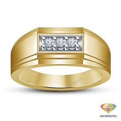 STERLING SILVER MENS THREE STONE DIAMOND WEDDING BAND RING 10K YELLOW GOLD #aonebianco #WeddingBandRing