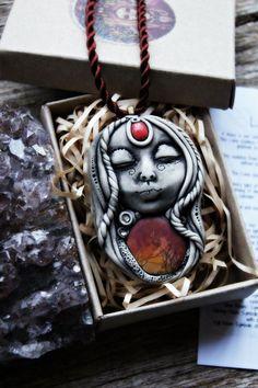 Luna Goddess Necklace, Moon Spirit, Handcrafted Clay, Lunar, Cosmic, Mystical, Moon Worship, New Age Jewelry, Symbolic, Moon Pendant. by TRaewyn on Etsy https://www.etsy.com/listing/203451179/luna-goddess-necklace-moon-spirit
