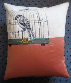 Jacky Winter Songbird cushion, 2009, with added hand embroidery