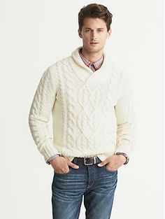 Cable-Knit Shawl-Collar Pullover | Banana Republic