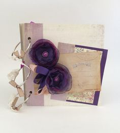 Wedding Scrapbook. Premade Cream and Purple by CallMeCraftie