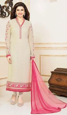 Cream Colored Ideal Designer Embroidered Straight Cut Suit In Faux Georgette
