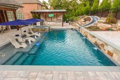 Small Backyard Pools, Backyard Pool Landscaping, Backyard Patio Designs, Small Pools, Swimming Pools Backyard, Swimming Pool Designs, Outdoor Pool, Pool And Patio, Pool House Designs