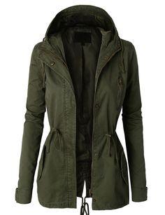 240b51e1f966f LE3NO Womens Anorak Camo Jacket with Hood and Drawstring Waist Army Green  Jackets, Women's Fall