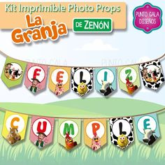 photo props granja zenon. kit imprimible. banderines cumple