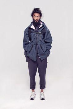 Vidur SS14 Menswear   Navy Elasticated Waist Drop Crotch Tapered Leg Linen Pants and Rain Coat