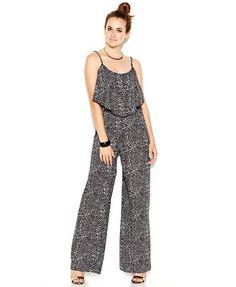 Bar III Sleeveless Printed Tiered Jumpsuit