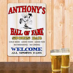 Hall of Fame Sports Bar Personalized Wall Sign - Monogram Online Monogram Signs, Personalized Signs, Pub Signs, Wall Signs, Sports Man Cave, Monogram Online, Man Cave Wall Art, Man Cave Signs, Sign Writing