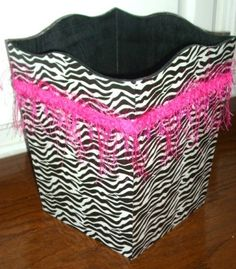 Zebra, Leopard, or Damask Print Hot Pink or Black Trim Trash Garbage Can Bathroom Bedroom Girls. $25.99, via Etsy.