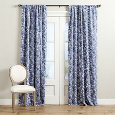 Our Charlotte Drapery Panel has a lush floral paisley pattern rendered in timeless blue and white that blends with lots of our favorite paint colors, fabrics and finishes. Hangs by the rod pocket or included hanging pins. Cotton lined for a smooth, elegant drape.Charlotte Drapery Panel features: Pairs with our Charlotte PillowCotton lined for privacy