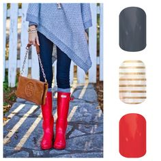 Because it's raining and because who doesn't love a red hunter boot? Jamberry nail wraps.  www.goldjams.jamberrynails.com