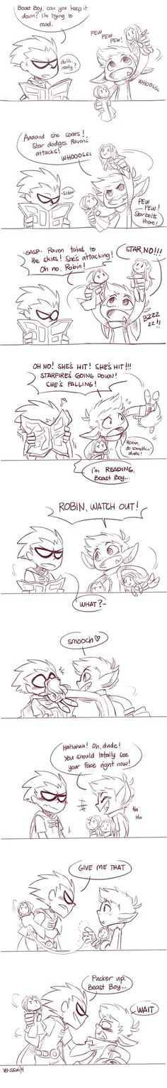Beastboy & Robin, hanging around