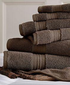 Loving this Mocha Spa Cotton Towel Set on #zulily! #zulilyfinds