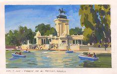 Parque del Retiro, Madrid Gouache, Madrid, Sketches, Painting, Art, Parks, Drawings, Art Background, Painting Art
