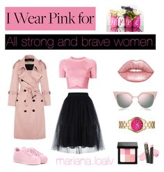 """""""I wear 💕Pink 💕for Hope 🙏🏻"""" by marianaloalv on Polyvore featuring moda, Burberry, T By Alexander Wang, Bobbi Brown Cosmetics, Fendi, Kenzo, L.A. Girl, Lime Crime y Michael Kors"""