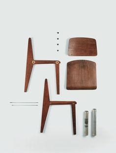 Standard Chair, deconstructed. By Jean Prouve.
