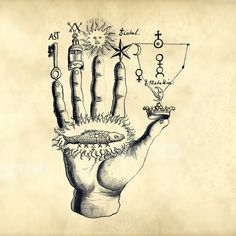 Magical hand with old symbols from the old alchemy book Alchemical and Rosicrucian compendium, from around 1760 High res at both a transparant png, and a white background jpeg The jpg has a larger canvas of for pos - # Old Symbols, Occult Symbols, Magic Symbols, Occult Art, Alchemy Art, Esoteric Art, Arte Sketchbook, Marquesan Tattoos, Book Of Shadows
