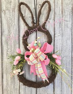 Sweet as can be bunny grapevine wreath with beautiful bow and coordinating silk tulip flowers and greenery. Simple yet eye catching! I have different ribbon and types of flowers that I can change. Just email or call with any custom orders. Wreath Crafts, Diy Wreath, Grapevine Wreath, Homemade Wreaths, Easter Wreaths, Spring Wreaths, Easter Crafts, Easter Decor, Grape Vines