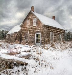 Looks like some old uninhabited homesteads in Northern Alberta Canada